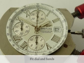 <p>&nbsp;Fit dial and hands</p>