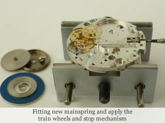 <p>&nbsp;Fitting new mainspring and apply the train wheels and stop mechanism</p>